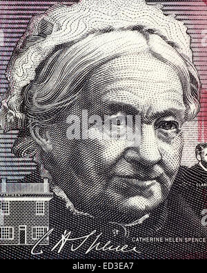 Catherine Helen Spence (1825-1910) on 5 Dollars 2001 banknote from Australia. - Stock Image