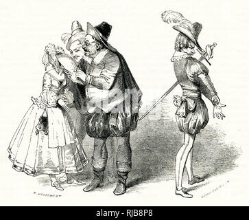 Illustration by Kenny Meadows to Twelfth Night, by William Shakespeare. Sir Andrew Aguecheek (right) has written a challenging letter to Cesario (Viola in disguise), through imagined rivalry for Olivia's hand. Sir Toby Belch, Fabian and Maria read the letter with approval. - Stock Image