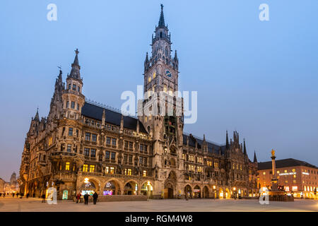 New city hall or Neues Rathaus, Marienplatz, Munich, Bavaria, Germany - Stock Image