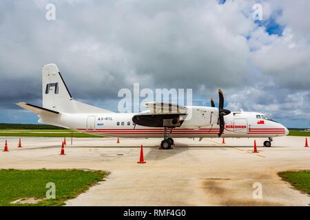 Nuku'alofa, Tonga - Jan 4 2014: REALTonga's Chinese built Xian MA60 turboprop airplane A3-RTL based on soviet Antonov-24 in Fua'amotu International Ai - Stock Image