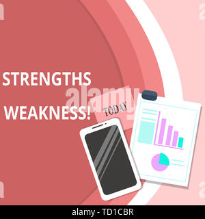 Handwriting text Strengths Weakness. Conceptual photo Opportunity and Threat Analysis Positive and Negative Layout Smartphone Off Sticky Notes Clipboa - Stock Image