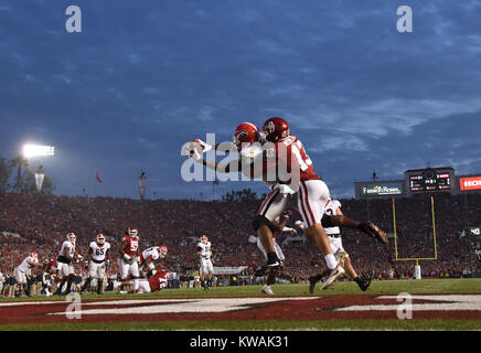 Pasadena, California, USA. 01st Jan, 2018. Georgia Bulldogs wide receiver Javon Wims #6 catches a touchdown during - Stock Image
