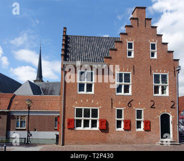 Facade of former city hall (anno 1622) in old town of Oud-Beijerland, Hoeksche Waard, South Holland, Netherlands - Stock Image