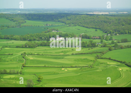 Panoramic aerial view of Oakland Park Golf Course near Chalfont St Giles featuring the greens, fairways, bunkers - Stock Image