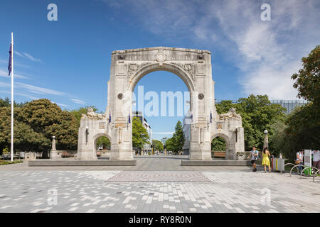 3 January 2019: Christchurch, New Zealand - The Bridge of Remembrance on Cashel Street in the centre of Christchurch. - Stock Image