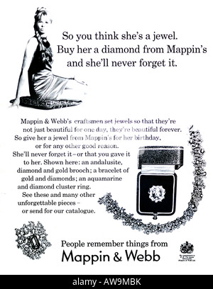 1960s Nova Magazine October 1968 Advertisement for Mappin & Webb Jewellery Jewelry Diamonds 1960s FOR EDITORIAL - Stock Image