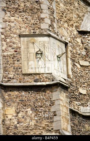 Sundial, St Botolph's Parish Church, Cambridge, Cambridgeshire, UK - Stock Image