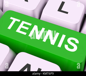 Tennis Key On Keyboard Showing Sport Online - Stock Image