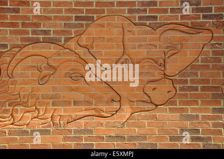 brick work, Sainsbury's supermarket, Market Harborough, Leicestershire, England, UK - Stock Image