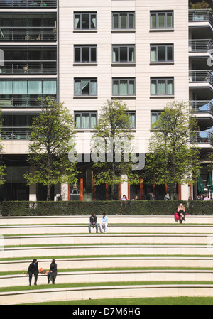 Terraced steps Sheldon Square London - Stock Image