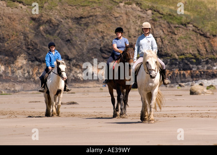 Horse riding along the Druid Stone beach in Pembrokeshire - Stock Image