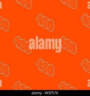 420 cannabis smoking time pattern vector orange - Stock Image