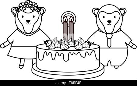 cute monkeys couple with sweet cake in birthday party vector illustration design - Stock Image