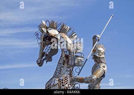 Unique Design Of The Roundabout At The Niederndorfer Border Crossing Quot Saint George As A Dragon-Shaped Dummy Made Of Metal - Stock Image