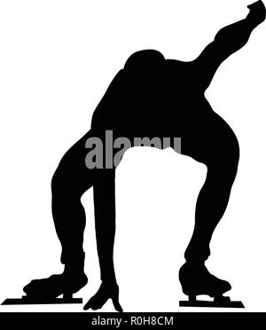 Skating man silhouette. Black on white.  Vector illustration. - Stock Image