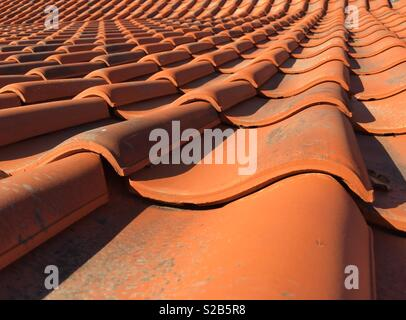 A pan tiled roof typical of buildings in Norfolk, England - Stock Image