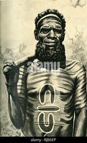 Aboriginal medicine man of the Worgaia, Central Australia. - Stock Image