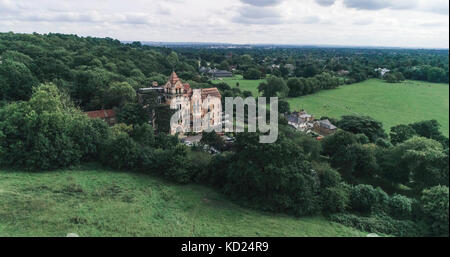 Aerial view of a Victorian country house in Richmond, West London - Stock Image