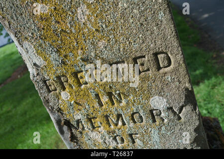 Kelso chruch graveyard in Scotland. An old gravestone. - Stock Image