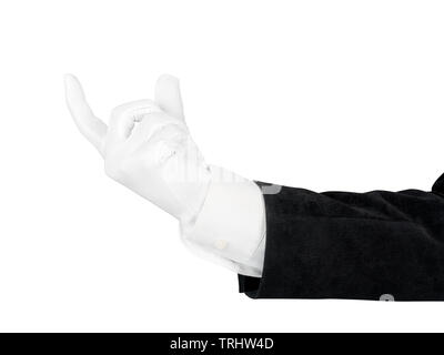Close up of man hand in black suit and white glove holding, measuring or supporting something. Isolated on white background with clipping path - Stock Image