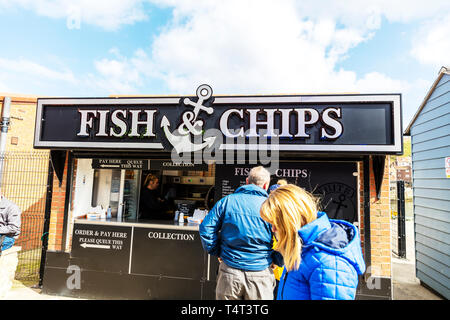Fish & Chip van, fish and chips, fish and chips stall Whitby, fish and chips Whitby, fish & chips Whitby, stall, van, Whitby, Yorkshire, UK, England - Stock Image