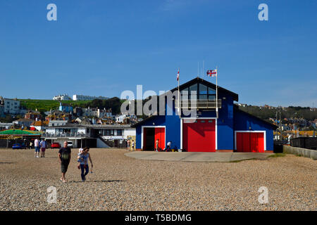 RNLI Lifeboat Station on the beach at Hastings, East Sussex, UK - Stock Image