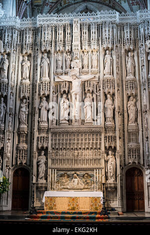 The Walingford Screen c.1480 At Albans Cathedral, UK - Stock Image