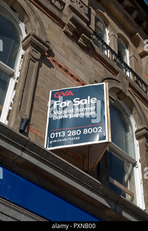 For sale sign on a former bank premises England UK United Kingdom GB Great Britain - Stock Image