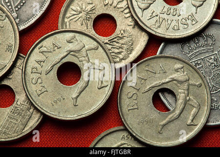 Coins of Spain. Discus thrower depicted in the Spanish 25 peseta coin dedicated to the Barcelona 1992 Summer Olympics. - Stock Image