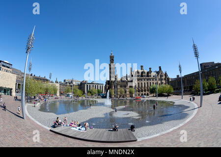 Centenary Square and City Hall, Bradford, West Yorkshire - Stock Image