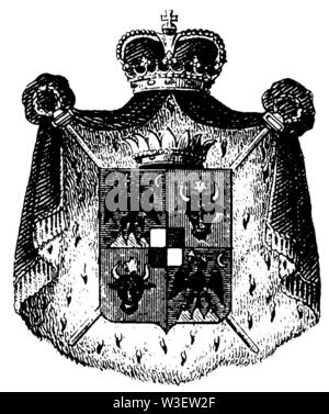 Coat of arms: Romania, ,  (cultural history book, 1875) - Stock Image