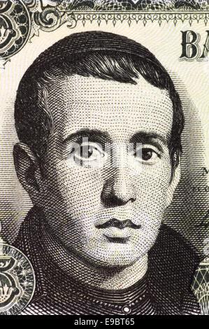 Jaime Balmes (1810-1848) on 5 Pesetas 1951 Banknote from Spain. Spanish Catholic priest. - Stock Image
