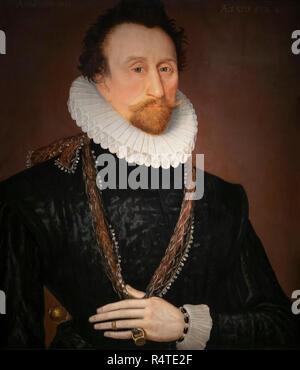 Sir John Hawkins, Unknown artist, 1581, - Stock Image