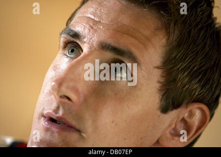 Bayern Munich forward newcomer Miroslav Klose is pictured at a press conference in Donaueschingen, Germany, 11 July - Stock Image