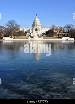 View of Frozen Reflecting Pool in front of US Capitol in Washington DC on Martin Luther Kings Birthday, January 15, 2018 - Stock Image
