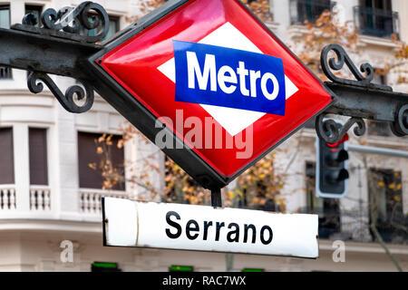Madrid Calle de Serrano Metro station sign - Stock Image