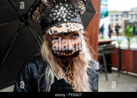 Bristol, UK. 27th October 2018. Bristol Zombie Walk. The gory blood spattered undead invade Bristols City Centre for the 11th Zombie Walk. Credit: Stephen Bell/Alamy Live News. - Stock Image