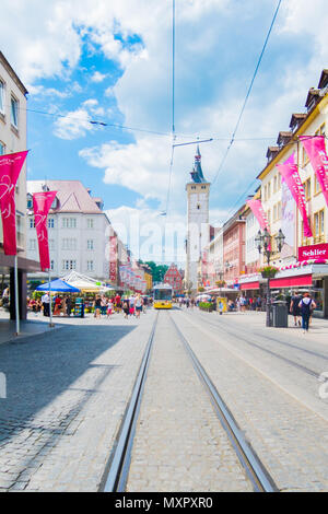 Tram in old town of Würzburg, Germany - Stock Image