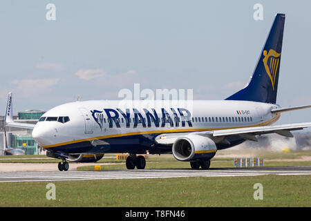 A Ryanair Boeing 737-800, registration EI-EKT, preparing for take off from Manchester Airport, England. - Stock Image
