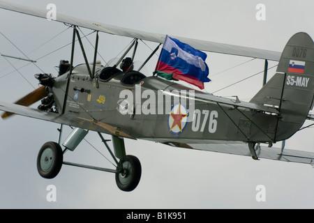 Polikarpov Po-2 basic flying trainer biplane classic, Airshow Maribor 2008, Slovenia June 15, 2008 - Stock Image
