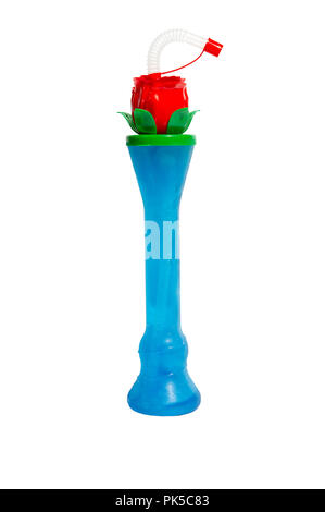 Flower Novelty Slush Yard Cup with multicolour slush on a white background - Stock Image