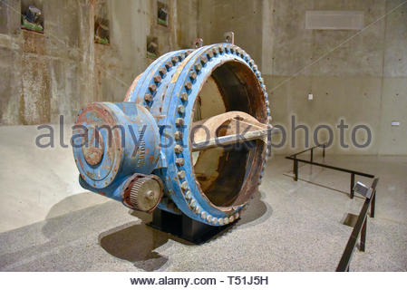 Inside of the National September 11 (9/11) Memorial and Museum. Large valve which was part of the water supply system in the former Twin Towers - Stock Image