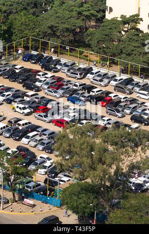 Taifa Road Parking with vehicles parked in the car park, Nairobi, Kenya - Stock Image