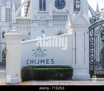 Entrance to CHIJMES Convent of the Holy Infant Jesus Chapel converted into social hall function event centre Singapore. - Stock Image