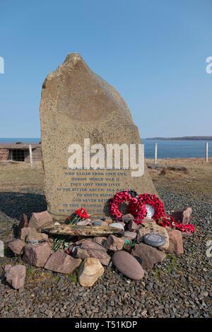 Russian convoy memorial at Loch Ewe, Poolewe, west coast of Scotland. - Stock Image