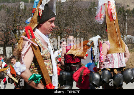 Turia, Bulgaria 9 March 2019 For centuries, spring has been performing a removed evil. People in the village wear big bells and terrible costumes. - Stock Image