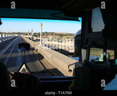 A view from a bus crossing the Aswan High Dam, Egypt, North Africa - Stock Image