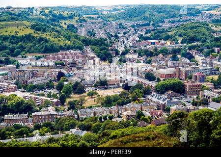 Aerial View,Dover,Town,Kent,England,UK View from Dover Castle - Stock Image