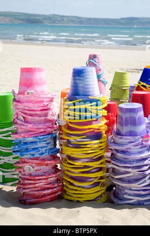 Buckets on Weymouth Beach, Dorset, UK - Stock Image