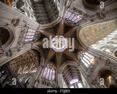 A fisheye lens view of the Octagon and lantern in Ely Cathedral, Cambridgeshire, England. - Stock Image